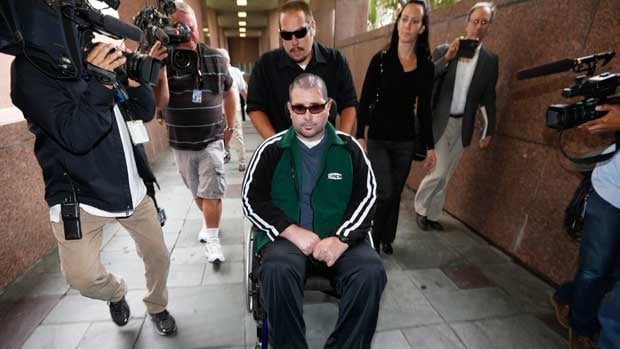 Bryan Stow, who requires around the clock care, is shown being wheeled into the Los Angeles County courthouse on June 25.