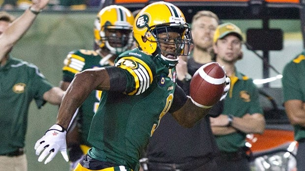Patrick Watkins (9) of the Eskimos runs for a TD in a 28-24 victory over the Tiger-Cats at Commonwealth Stadium last Friday.