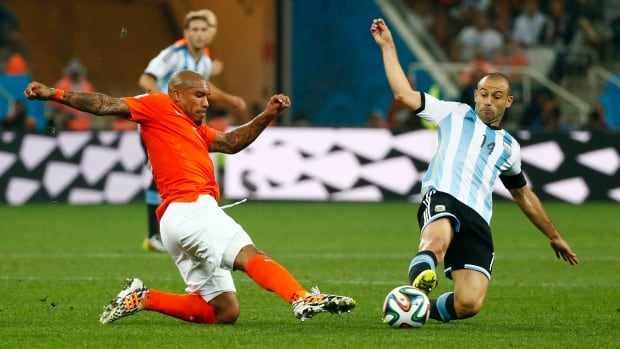 Javier Mascherano, right, is a key part of the reason Argentina has controlled the play and kept opposing teams from generating chances at the FIFA World Cup.