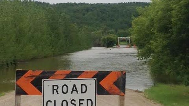 Access was blocked to the Qu'Appelle bridge in St. Lazare during summer flooding on July 9.