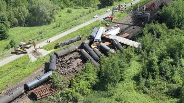 The Transportation Safety Board of Canada released this aerial photo of the derailment site in Brockville, Ont.