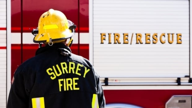 Surrey Fire and Rescue say a three-year-old girl was taken to hospital Thursday afternoon after falling from an apartment window.