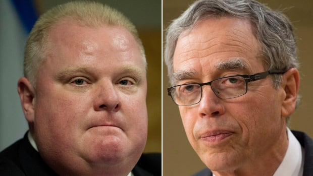 When asked about how he felt appearing with Rob Ford, Joe Oliver said he has a 'business-like' relationship with the mayor but has a 'different opinion' on political and social issues.