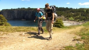 McMaster University students Andrew Case and Anthony D'Ambrosio hiking in NL