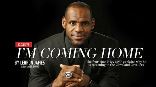 LeBron James made his announcement to return to Cleveland through Sports Illustrated, in a first-person article told to writer Lee Jenkins.