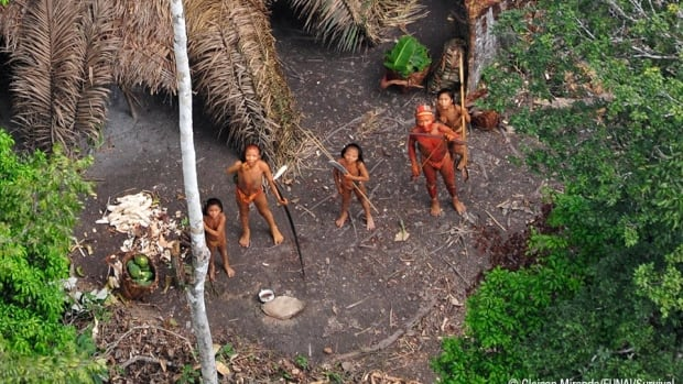 Uncontacted aboriginal people have made contact with a settled indigenous community close to where this isolated Amazon community was photographed from the air in 2010.