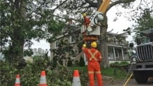NB Power is working to restore power with help from others, such as this crew from Hydro-Québec