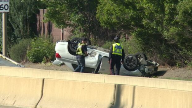 Police suspect street racing was the cause of the collision that temporarily shut down part of Wayne Gretzky Drive Saturday morning.