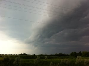 storm clouds moving into St. Laurent