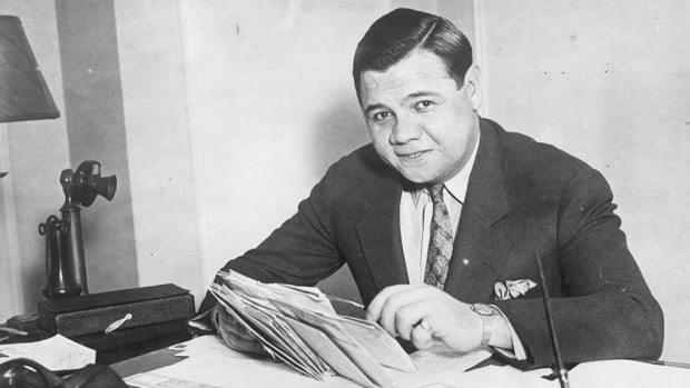 Babe Ruth's contract from almost 100 years ago sold at auction for over $1 million US at auction. He is shown here in 1935.