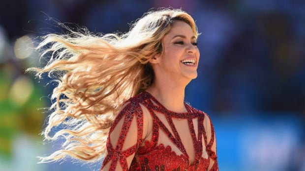 Shakira performs during the closing ceremony prior to the 2014 FIFA World Cup final between Argentina and Brazil.