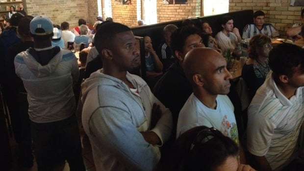 Argentina fans watch the World Cup final at Corrientes on Bannatyne Avenue in Winnipeg.