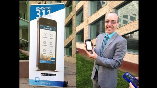 Ward 1 Councillor Andrew Knack shows off the 311 app, already installed on his own smartphone.