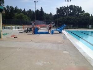 Pool slide being set up