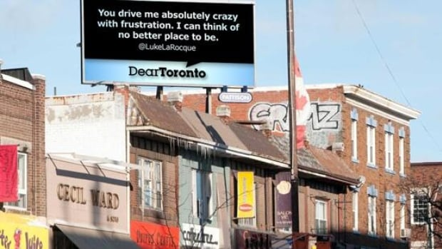 From tweet to billboard: an example of a Dear City Canada digital billboard.