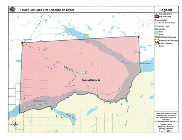 Tetachuck Lake fire evacuation order map