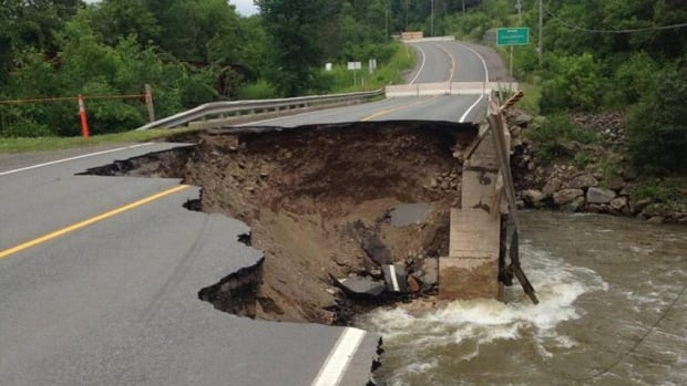 A large section of Highway 105 between Bath and Florenceville-Bristol was washed out when post-tropical storm Arthur hit New Brunswick more than a week ago. Derek Anderson took this picture on July 7.