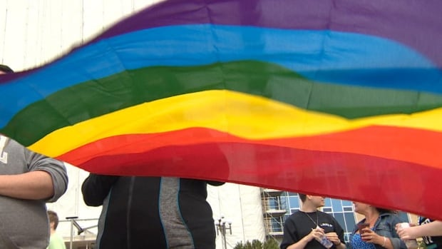 LGBT supporters at Confederation Building in St. John's at a flag raising to launch Pride Week events.