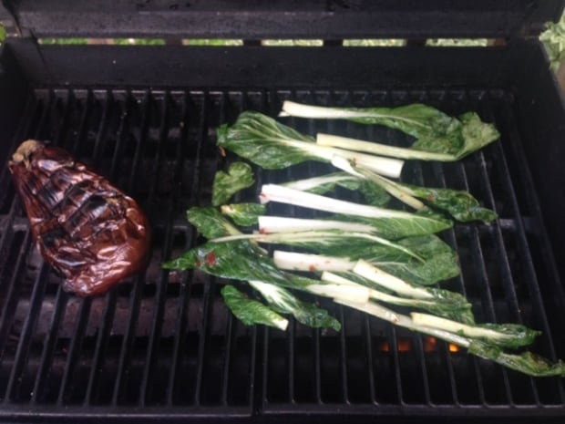 Grilled bok choy and eggplant