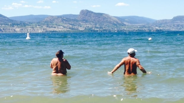 Nudists enjoyed the sun and the water on the weekend at Three Mile Beach.