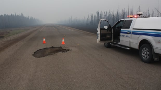 Crews have repaired a section of the northbound lane of N.W.T. Highway 3 that melted Monday when fires jumped the road near Chan Lake between Edzo and Fort Providence.