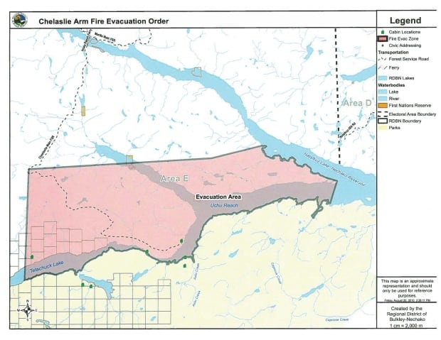 Tetachuck Lake expanded fire evacuation order map