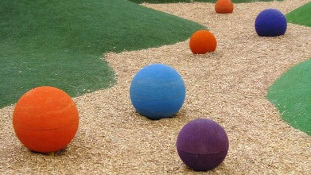 "Three of these giant ""Skittles"" have gone missing from Assiniboine Park. The colourful balls are part of an art installation at the park's Nature Playground for children."
