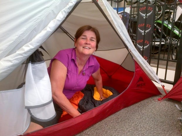 Sheila models tent