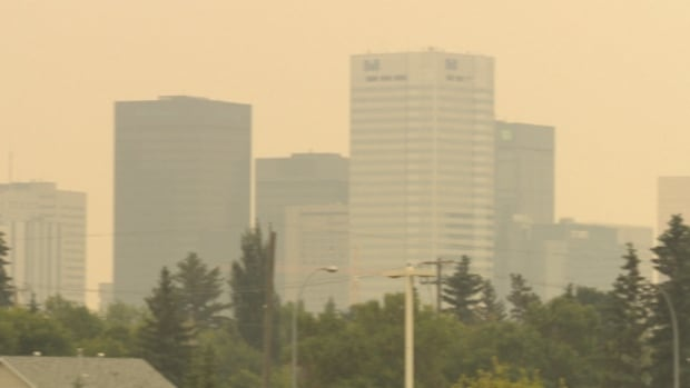The downtown Edmonton skyline was cloaked in smoke on Wednesday.