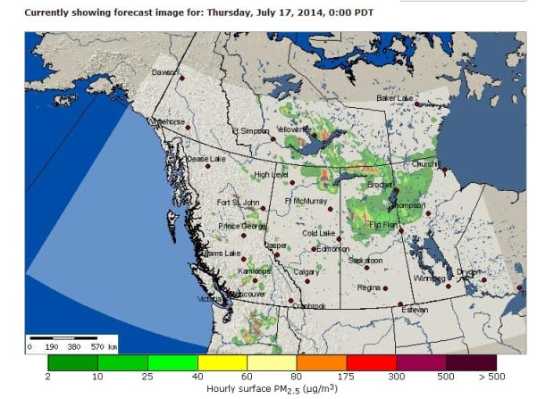 Smoke forecast for Western Canada