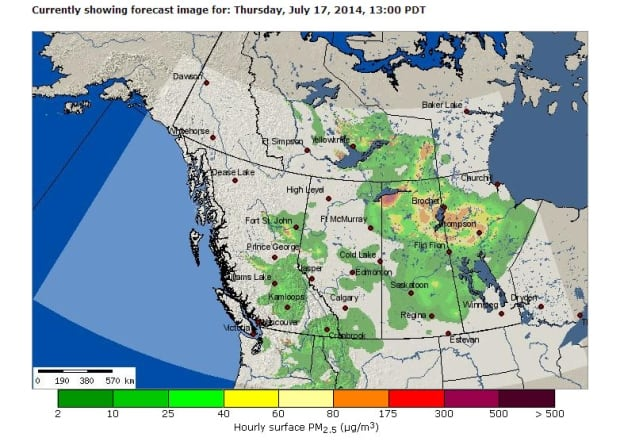 Wildfire forecast in Western Canada