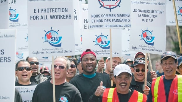 Protesters opposing employment insurance reform demonstrated in Montreal on Saturday, April 27, 2013.