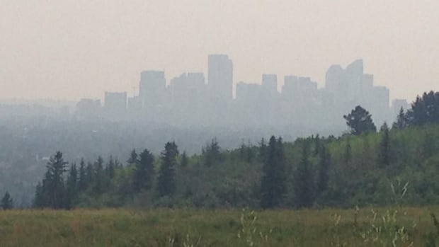 Smoke lingers over Calgary in this picture taken from Edworthy Park.