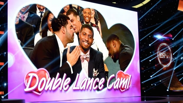 Drake parodies an infamous ear-blowing incident from the NBA playoffs during the 2014 ESPY awards.