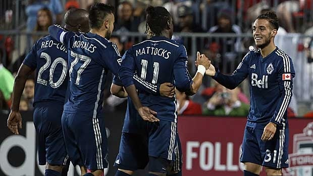 Russell Teibert, right, seen celebrating Vancouver's lone goal in Toronto on Wednesday with teammates, says the points up for grabs against rival Real Salt Lake are crucial.