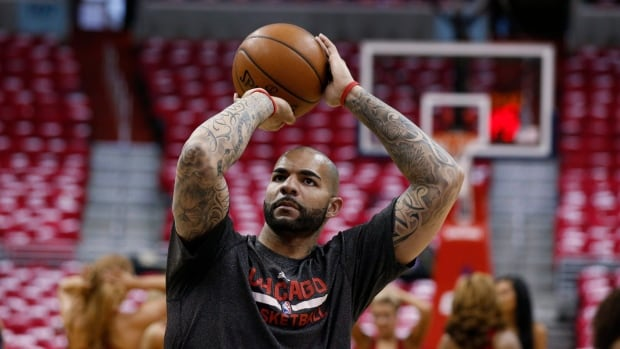 Carlos Boozer is shown warming up for Chicago prior to a playoff game in April.
