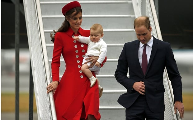 William, Kate and George arrive in Wellington