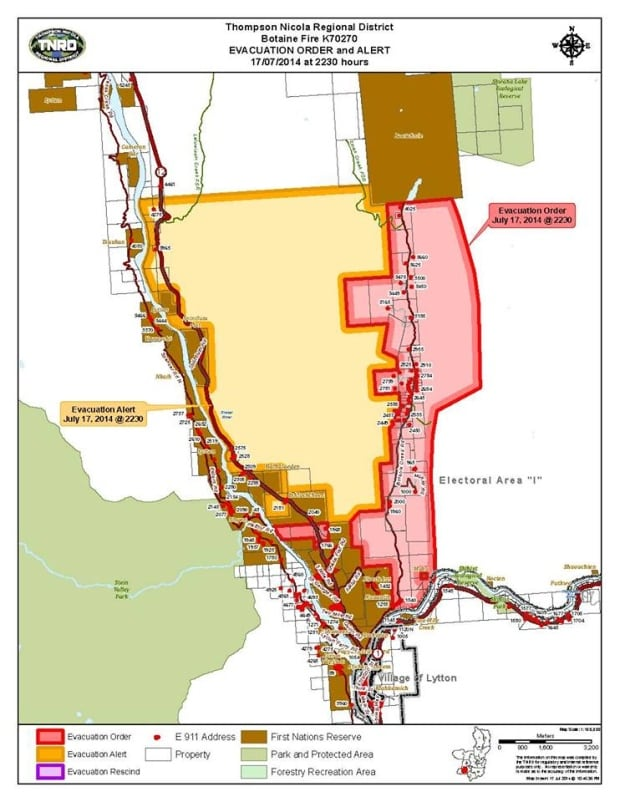 Botanie Road wildfire evacuation map