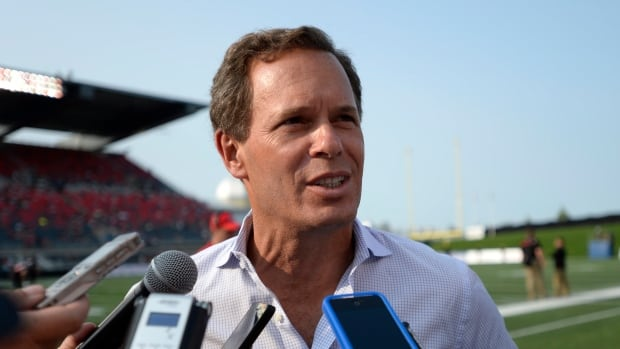 CFL Commissioner Mark Cohon speaks to reporters before the Ottawa Redblacks took on the Toronto Argonauts in the Redblacks home opener at TD Place in Ottawa.