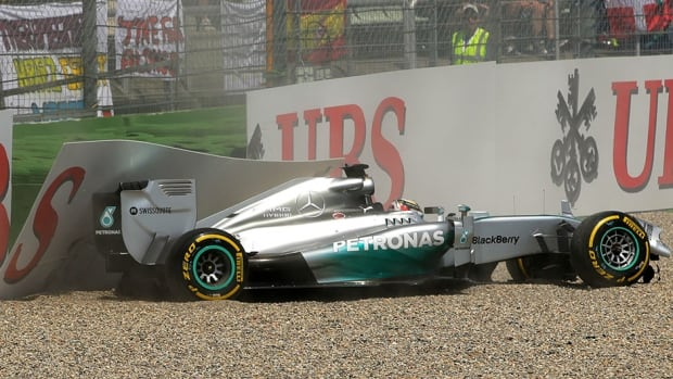 Lewis Hamilton of Great Britain and Mercedes GP crashes during qualifying ahead of the German Grand Prix in Hockenheim.