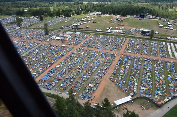 Aerial view of Pemberton Music Festival - July 19, 2014