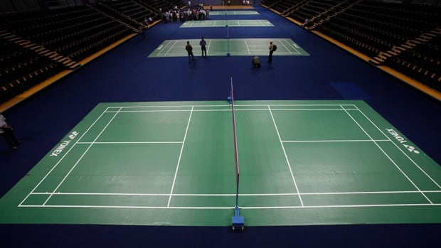 Here is a general view of the badminton courts at the 2010 Commonwealth Games in New Delhi. This year the Games will be held in Glasgow.