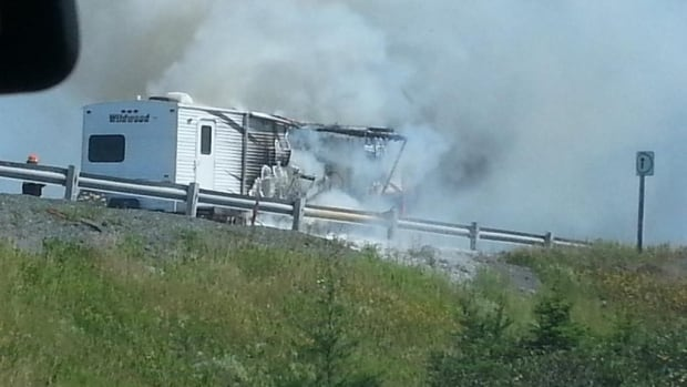 A camper RV attached to the back of a truck caught fire Sunday afternoon. The Trans-Canada Highway eastbound was closed to allow firefighters to put out the blaze.