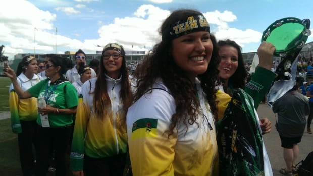A big cheer erupted as Team Saskatchewan took to the field at the opening ceremonies for the North American Indigenous Games on Sunday.
