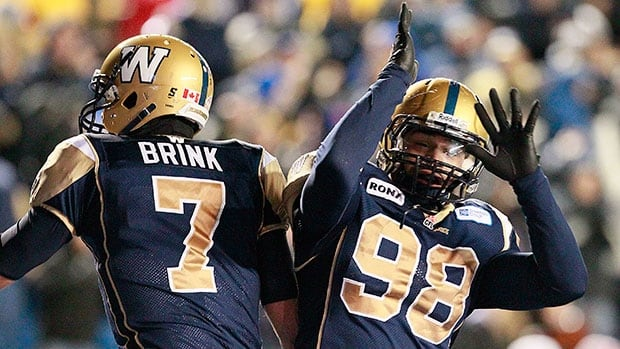 Winnipeg Blue Bombers defensive lineman Jason Vega (98) has a few ailments that likely will keep him off the field Friday against the Lions.