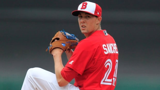 Aaron Sanchez went 0-3 with a 4.19 ERA in triple-A Buffalo this season.