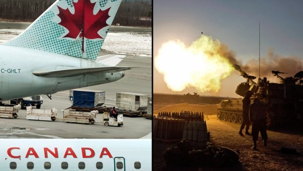 Air Canada said Tuesday it cancelled a scheduled flight to Tel Aviv from Toronto following reports of a rocket explosion near the Israeli city's airport. Right, an Israeli mobile artillery unit fires toward the Gaza Strip.