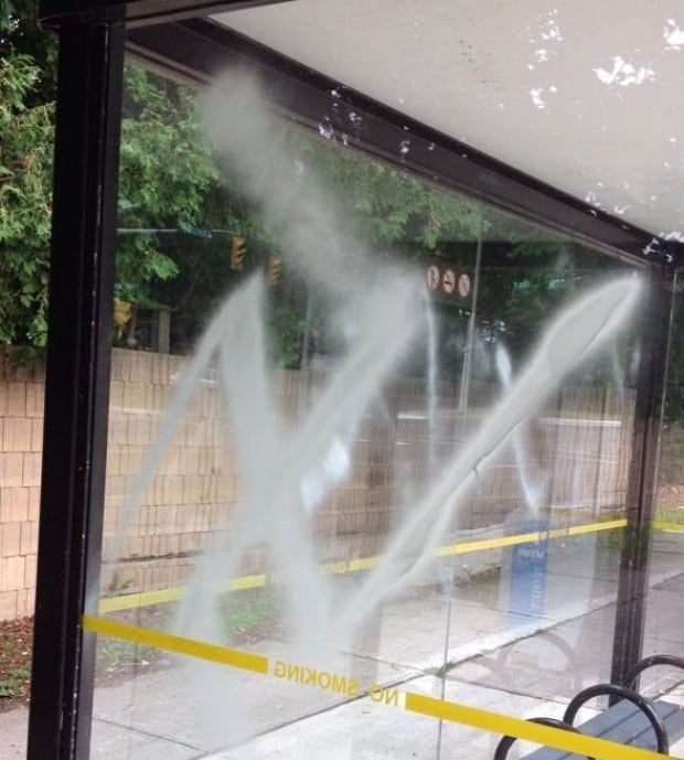 Swastika spray-painted on Thornhill bus shelter