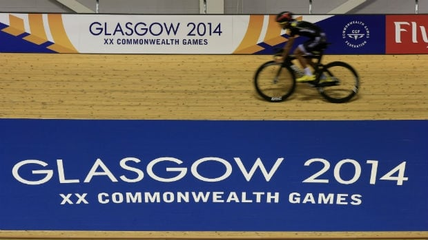 Cyclists participate in a training session at the Sir Chris Hoy Velodrome at the Emirates Arena in Glasgow ahead of the start of the Commonwealth Games.