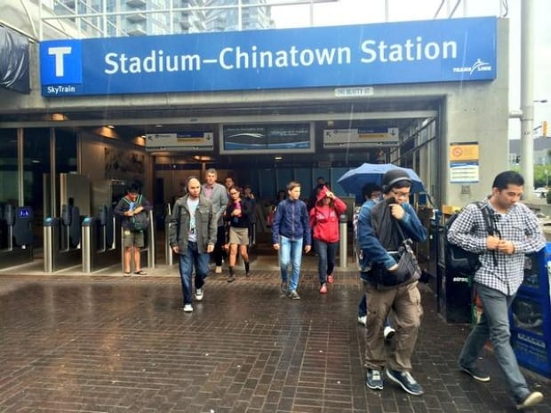 SkyTrain commute Stadium-Chinatown Station - July 23, 2014